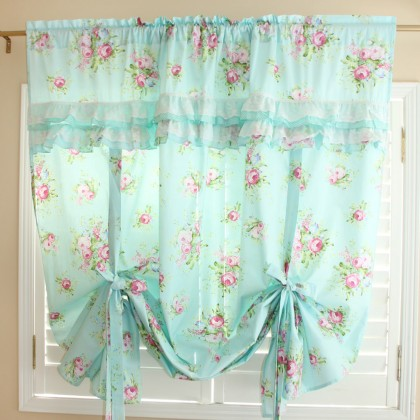 Green Rose Blossom Tie Up Curtain