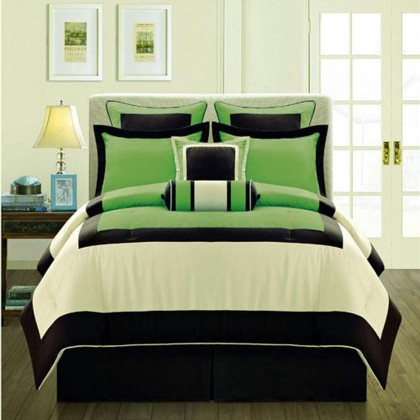 Manhattan Duvet Cover Set, Green