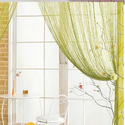 Green String Curtain Panel