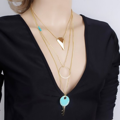 Layer Arrow Aqua Key Circle Lariat Necklace