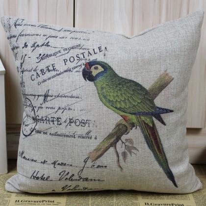 Vintage Parrot Cushion Cover