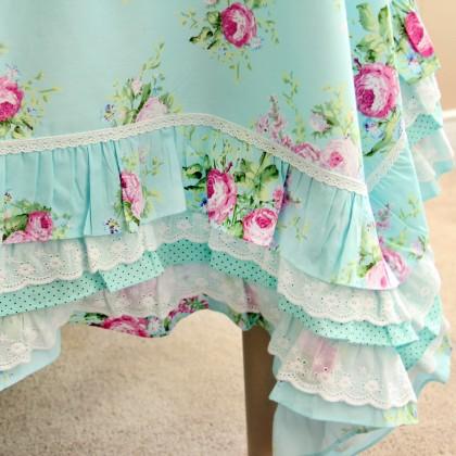 Green Rose Blossom Ruffle Tablecloth