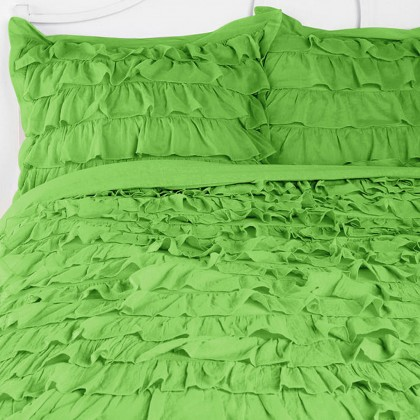 Green Waterfall Ruffle Sham-Set of 2