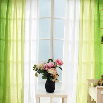 Green Gradient Linen Curtain Set