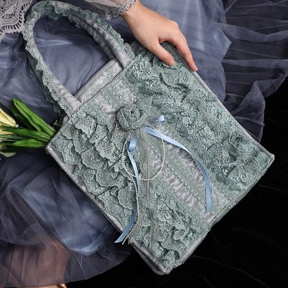Lolita Ruffle Green Lace Bag