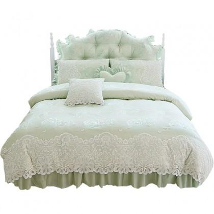 Green Paris Lace Egyptian Cotton Duvet Cover Set