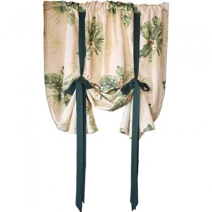 Botanical Beige Tie Up Balloon Curtain