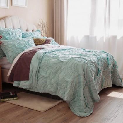 Rivulets Green Handmade 3pcs Quilt Bedding