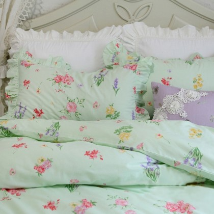 Green Floral Duvet Cover Set