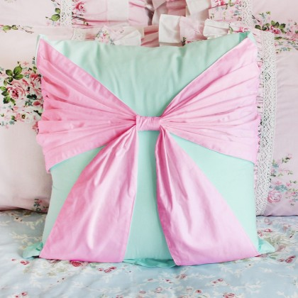 Bow Accent Cushion Cover-Pink Turquoise