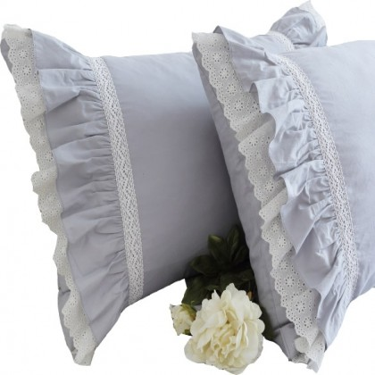 Grey Ruffle Duvet Cover Set