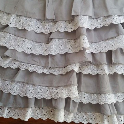 Grey Ruffled Valance