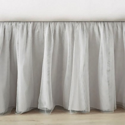 Luxury Grey Sheer Bed Skirt