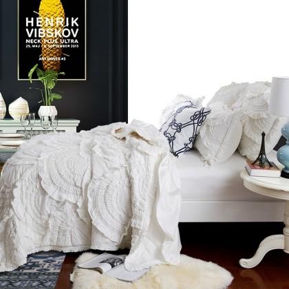 Cream White 3pcs Handmade Quilt