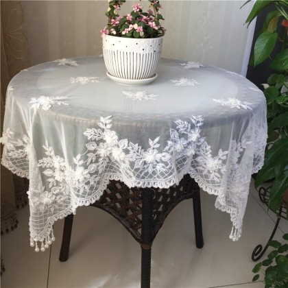 Delicate French Lace Table Topper with Bead Tassel