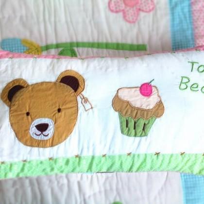 Bear with Cupcake Decorative Cushion Cover