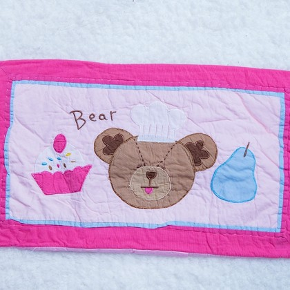 Bear with Cupcake Decorative Cushion Cover
