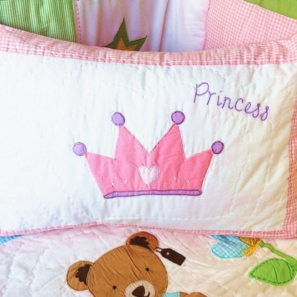 Pink Princess Crown Decorative Cushion Cover