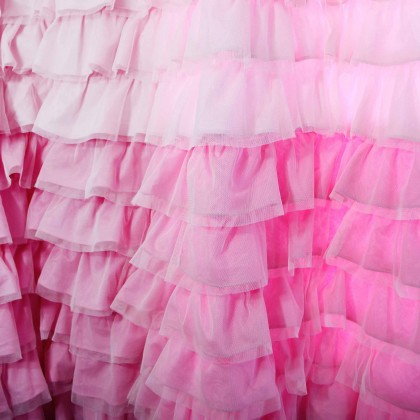 Pink Ombre Double Ruffle Sheer Waterfall Curtain Panel