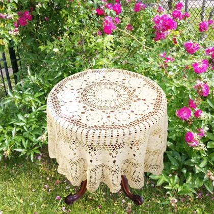Vintage Crochet Round Tablecloth
