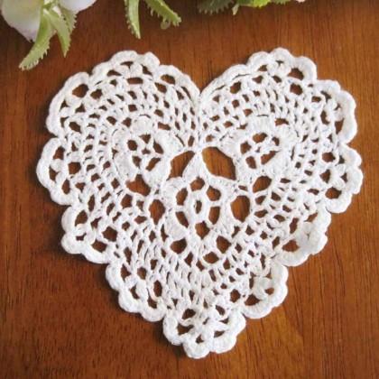 Heart Crochet Doilies 12 pcs