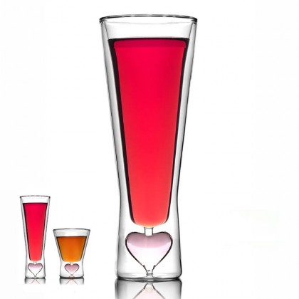 Valentine Glass Cup Set Tall