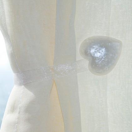 White Heart Magnetic Curtain Holdbacks