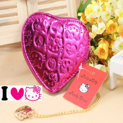 Hello Kitty Shiny Patent Embossed Fuschia Heart Pouch