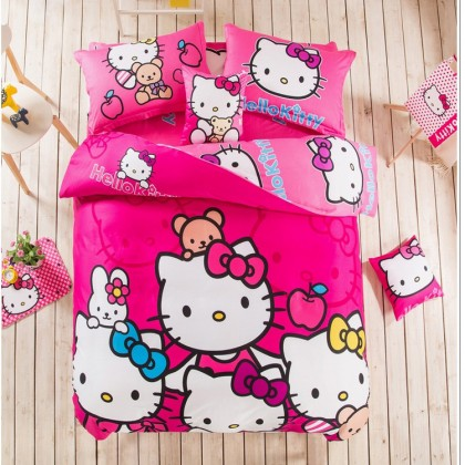 Hello Kitty Blue Hot Pink Duvet Cover Set