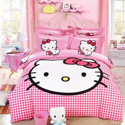 Hello Kitty Gingham Duvet Cover Set