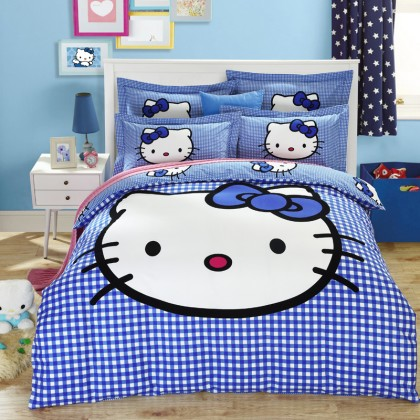 Hello Kitty Blue Gingham Duvet Cover Set