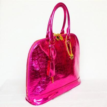 Hello Kitty Shiny Patent Embossed Fuschia Purse