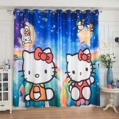 Hello Kitty Rainbow Blue Curtain Set