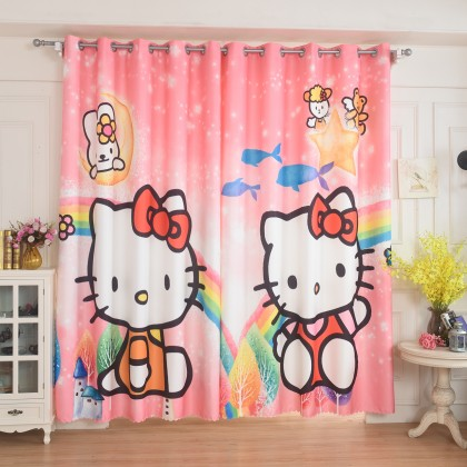 Hello Kitty Rainbow Pink Curtain Set
