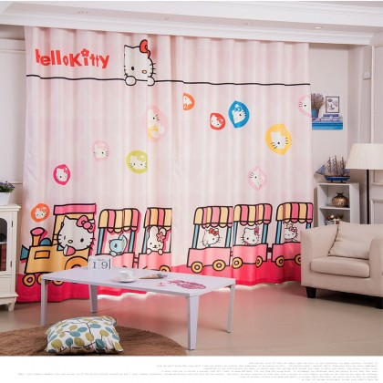 Hello Kitty Choo Choo Train Pink Curtain Set