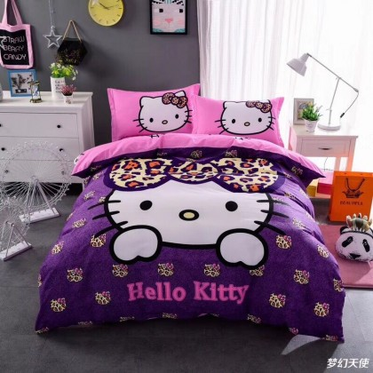 Hello Kitty Purple Leopard Duvet Cover Set