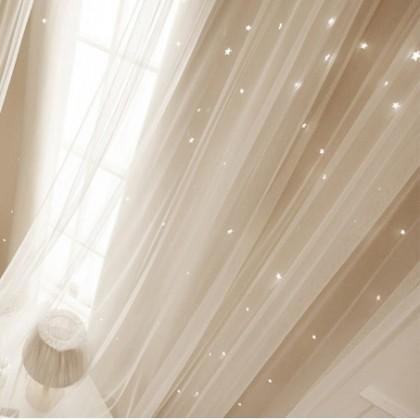 Custom Made Stars Blackout Beige Curtain Panel 75 x 40