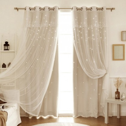 Custom Made Stars Blackout Beige Curtain Panel
