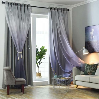 Stars Block-out Curtains in Grey Purple