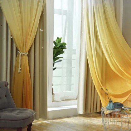 Stars Block-out Yellow Curtains