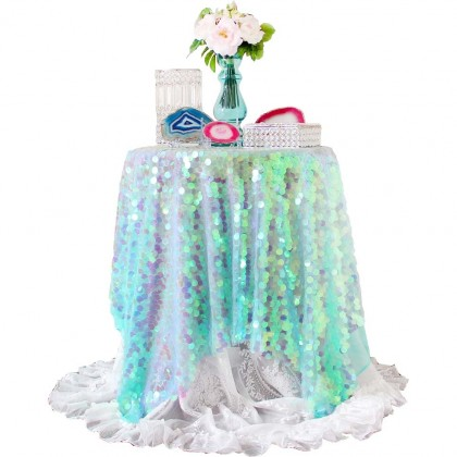 Green Blink Iridescent Holographic Sequin Fabric