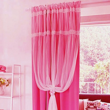 Pink Lace Tulle Overlay Curtain Panel