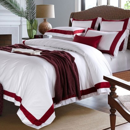 Hotel Egyptian Cotton Duvet Cover Set- Red