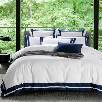 Hotel Egyptian Cotton Duvet Cover Set- Double Blue Border