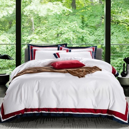 Hotel Egyptian Cotton Duvet Cover Set - Red Blue