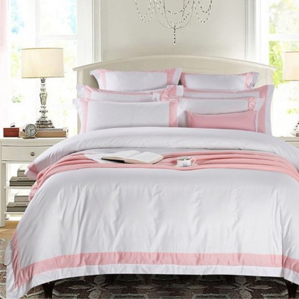 Hotel Egyptian Cotton Duvet Cover Set- Wide Pink Border
