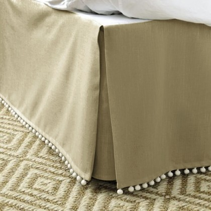Luxury Light Brown Bed Skirt with Pom Pom Balls