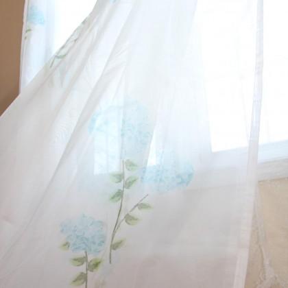Blue Hydrangea Sheer Curtain Set