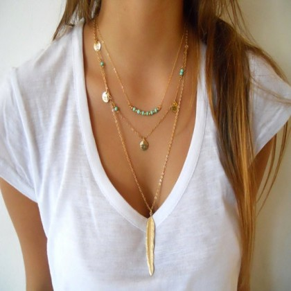 Gold Leave Gold Tone Turquoise Necklace