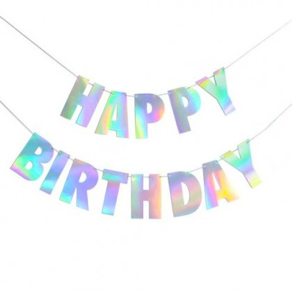 Iridescent Holographic Birthday Party Banner